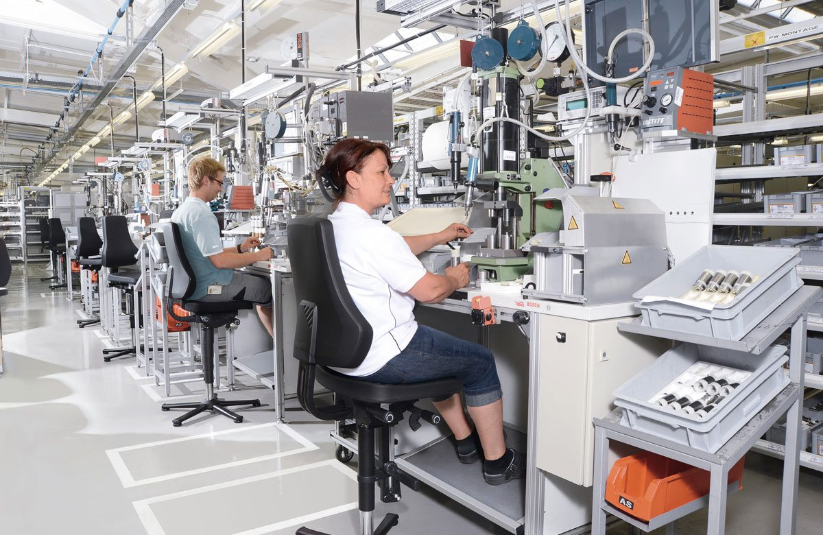 Photo of a room with a lot of machines and customized work stations provided by Flexmation with two people sitting in the special work places.