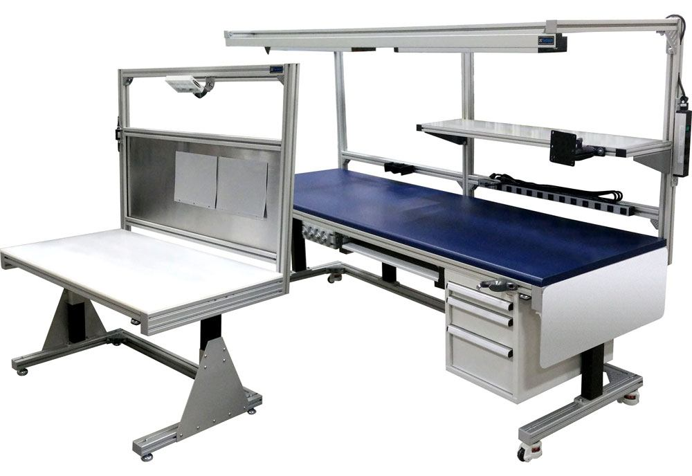 large work stations that are customizable with shelves, visual management options, lights, and drawers.